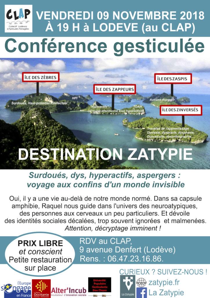Destination Zatypie : au CLAP à Lodève le 9 novembre 2018 !
